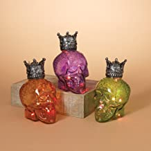 Gerson International Halloween Glass Crowned Skulls with LED Color Changing Lights Figurine Set of 3
