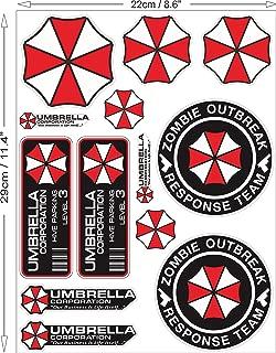 Umbrella Corporation Set Resident Evil Zombie The Walking Dead Sticker Decal Pegatinas Aufkleber/Plus Coconut Shell Keychain Ring/Nemesis Raccoon City Car Truck Bumper Bike Helmet Notebook