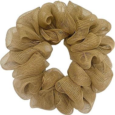 Huashen 24 Inch Handcraft Natural DIY Burlap Door Wreath on Grapevine for Year-Round Everyday Farmhouse Decoration