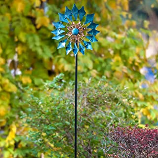 SteadyDoggie Wind Spinner Emerald 61in Single Blade Easy Spinning Kinetic Wind Spinner for Outside – Vertical Metal Sculpture Stake Construction for Outdoor Yard Lawn & Garden