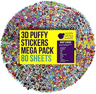 80 Different Sheets Kids & Toddlers Puffy Sticker Mega Variety Pack by Purple Ladybug Novelty - 2000+ 3D Puffy Stickers for Kids - Including Animals Smiley Faces Cars Stars and More!