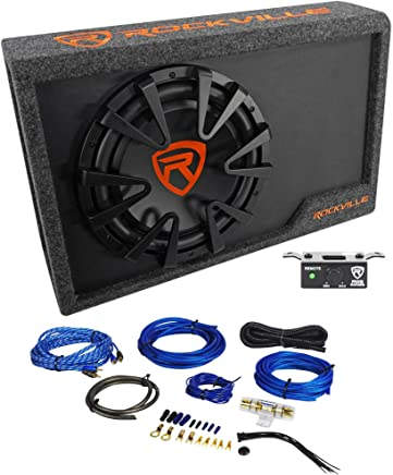 "$119 Get Rockville RWS12CA Slim 1200 Watt 12"" Powered Car Subwoofer Enclosure + Wire Kit"