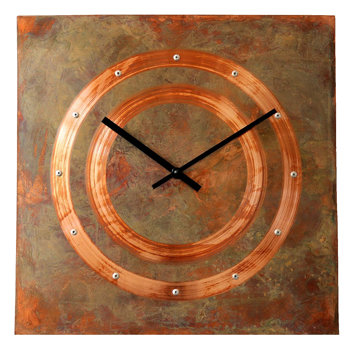 Patinated Copper Rustic Square Large - Clock Wall 16-inch Silent Lowest Regular discount price challenge