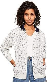 WOKNIT Printed Full Sleeves Womens Hooded Light Grey Sweatshirt