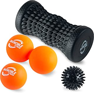 Invincible Fitness Therapy Foot Roller Set, Lacrosse Trigger Point Ball, Double Peanut Lacrosse Massager, Spiky Massage Ball, for Self-Myofascial Release, Deep Tissue, Plantar Fasciitis, Reflexology