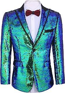 Coofandy Men's Shiny Sequins Suit Jacket Blazer One Button Tuxedo Party,Wedding,Banquet,Prom