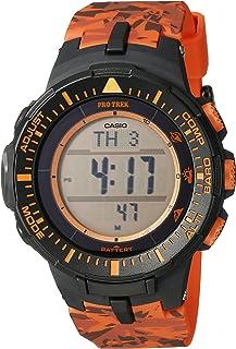 Men's PRG-300CM-4CR Pro Trek Triple Sensor Tough Solar Digital Display Quartz Orange Watch