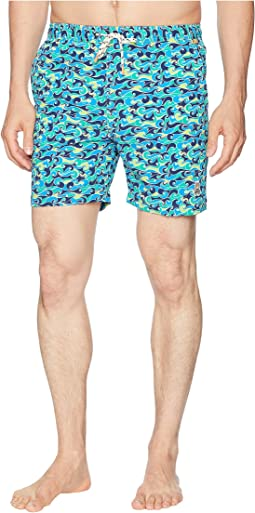Modern Wave Print Swim Trunks
