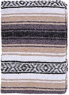 El Paso Designs Genuine Mexican Falsa Blanket - Yoga Studio Blanket, Colorful, Soft Woven Serape Imported from Mexico (Beige)