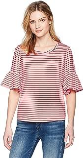 Women's Ruffle Sleeve Crewneck Tee T-Shirt