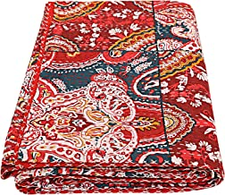 Floral print Indian Patch Work Cotton Kantha Quilt Queen Bedspreads Throw Blanket Bohemian Bedspread , Bohemian Bedding , ...
