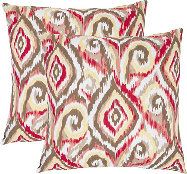 Safavieh Pillow Collection Ikat Swirls 22 Inch Decorative Pillows Brown And White Set Of 2