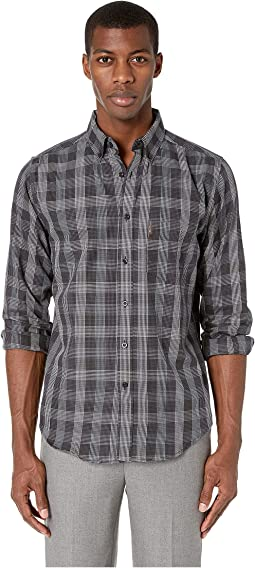 Long Sleeve Textured Plaid Shirt