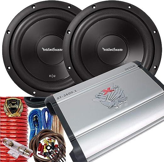 Amazon Com Pair Of Rockford Fosgate R2d4 10 Prime R2 Dvc 4 Ohm 10 Inch 500 Watts Peak Subwoofer 3600w Monoblock Amplifier Installation Kit Included