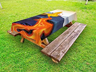 Lunarable Volcano Outdoor Tablecloth, Vibrant Graphic Display of Eruption Natural Disaster Molten Hot Lava, Decorative Washable Picnic Table Cloth, 58