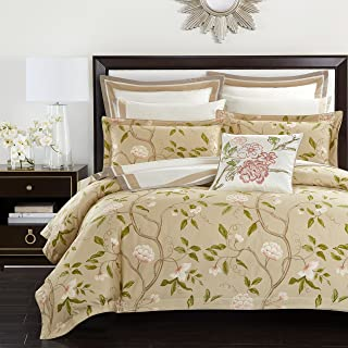 Casabolaj Rosa Collection 3 Pieces Luxury Duvet Cover Set Beige Classy Rustic Cottage Floral Botanic Printed Egyptian Cotton Sateen 400 Thread Count Button Closure and Corner Ties (King)