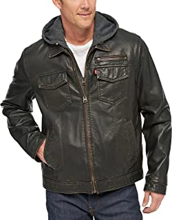 Men's Faux-Leather Two-Pocket Trucker Hoodie Jacket with Sherpa Lining