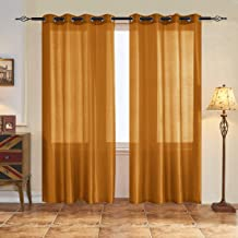 Subrtex 2 Panels Faux Silk Semi-Sheer Elegance Window Curtains, 52'' x 84'', Gold