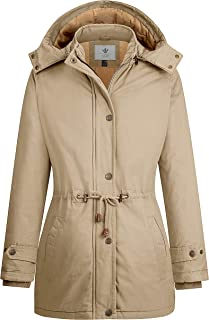 WenVen Women`s Casual Winter Warm Cotton Quilted Jacket with Detachable Hood
