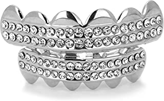 Silver Plated Hip Hop 2 Row Clear CZ Top & Bottom Row Grillz