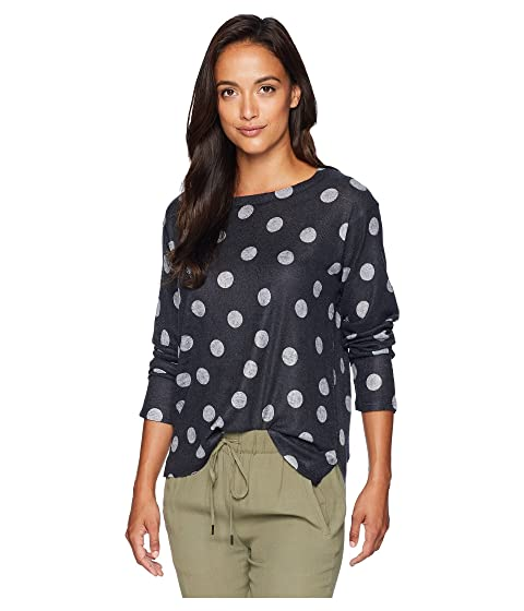NALLY & MILLIE Long Sleeve Grey Polkadot Print Top, Multi