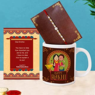 TIED RIBBONS Rakhi for Brother with Gift - Raksha Bandhan Gifts for Brothers Rakhi Coffee Mug with Wishes Card