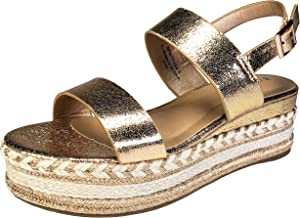 BAMBOO Women's Single Band Espadrilles Platform Sandal with Ankle Strap