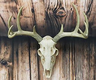 "Ebros Gift Rustic Hunter Deer 10 Point Buck Skull Trophy Antlers Wall Mounted Plaque Trophy Decor Figurine 14.25"" Long Hun..."