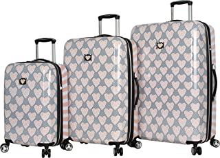 "Betsey Johnson Luggage Hardside 3 Piece Set Suitcase with Spinner Wheels (20"" 26"" 30"") (One Size, Chevron Hearts)"