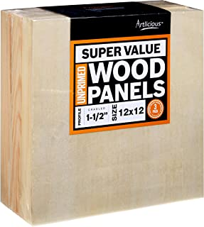 Artlicious - 3 Gallery Profile Super Value Wood Panel Boards - Great Alternative to Canvas Panels, Stretched Canvas & Canv...