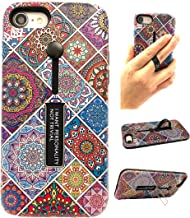WOBOMATIC Slim TPU Phone Case Compatible with iPhone 7 Plus and Compatible with iPhone 8 Plus Mobile Phone Model with Kickstand and Silicone Ring Holder (Multi Mosaic)