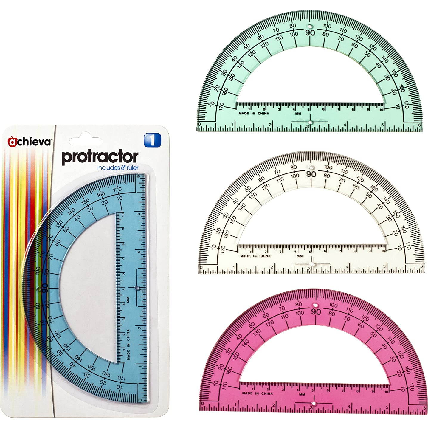 Officemate OIC Achieva Protractor with 6-Inch Ruler, Box of 12, Assorted Translucent Colors (30202)