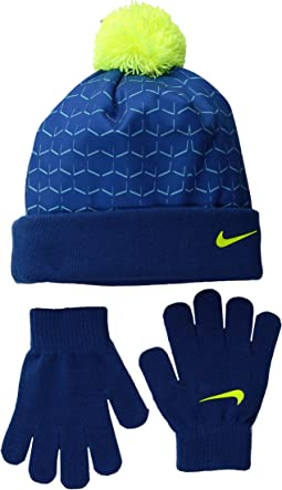 Nike Kids Graphic Pom Beanie & Gloves Set (Little Kids)