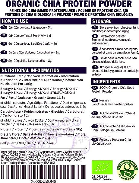 Indigo Herbs Polvo ecológico de Proteína de Semilla Chia 250g