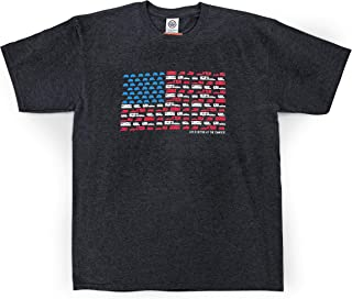 Camco Charcoal X-Large Life is Better at The Campsite Patriotic American Flag Retro RV Design T-Shirt, Classic Fit Tee Dark Gray, XL (53275)