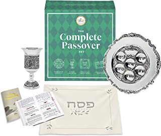 The Complete Passover Seder All-In-One Matching Seder Plate & Kiddush Cup - Matzah Cover - Haggadah