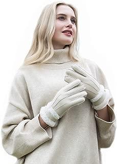 Womens Winter Sheepskin Shearling Leather Gloves Wool Lined Furry Cuffs