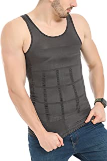 JQAmazing Mens Slimming Body Shaper Vest Shirt Abs Abdomen Slim(SmallGray)