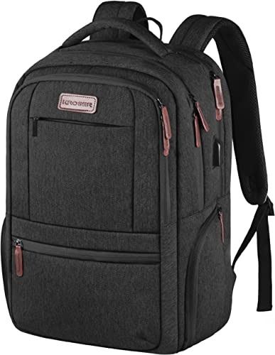KROSER Laptop Backpack 15.6 Inch Laptop Computer Backpack with USB Charging Port Water-Repellent Travel Business Bag ...