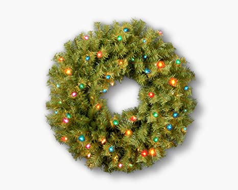 National Tree 24 Inch Norwood Fir Wreath With 50 Multi Colored Lights Nf 24wrlo 1 Home Kitchen