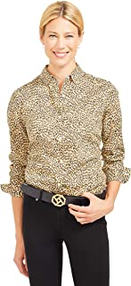 J.McLaughlin Womens Long Sleeve Lois Shirt in Micro Animal