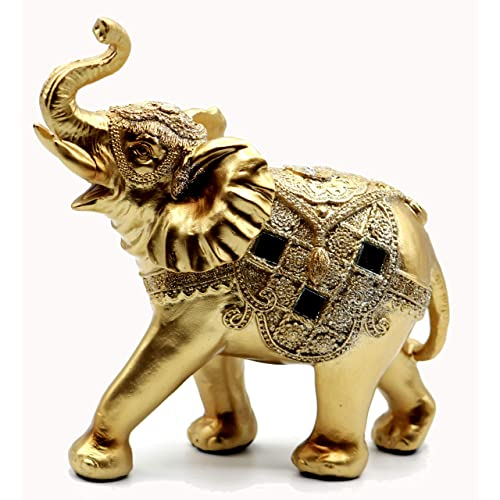 Feng Shui 8 H Brass Color Elegant Elephant Statue With Trunk Facing Upwards