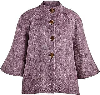 Women's Plum Herringbone Cape Jacket- 100% Wool, Lined, 1/2 Sleeve
