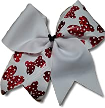 Cheer bows white Minnie mouse Mickey bling Hair Bow