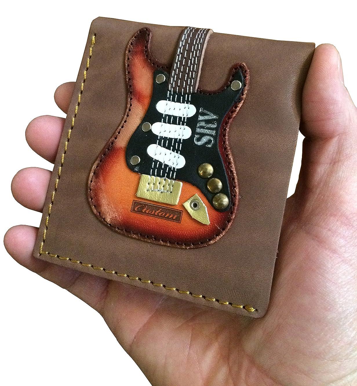 Men's Leather Wallet - Genuine Leather - Handmade - SRV - Stevie Ray Vaughan - Number One - Fender Stratocaster - Guitar Pick Holder
