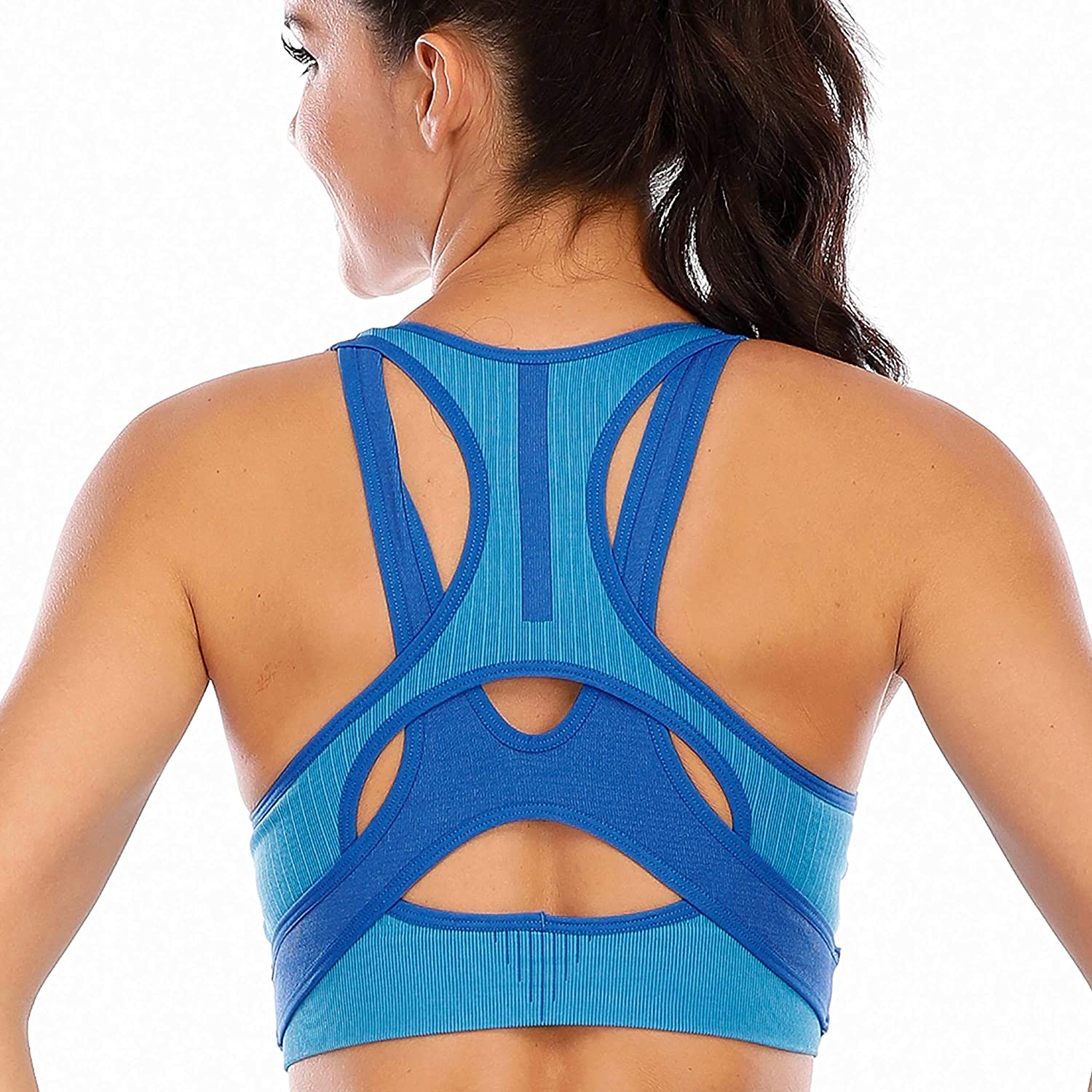Cordaw Womens Sports Bras Racerback Crop Top for Gym Seamless Workout Bra Yoga Tops Padded Medium Support Bounce Control