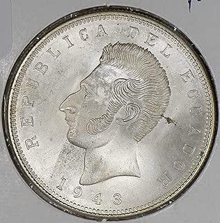 1943 EC E0078 Ecuador 5 Sucres vintage silver DE PO-01