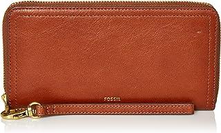 Fossil Women's Logan Faux Leather Wallet RFID Blocking Zip Around Clutch with Wristlet Strap, Brown