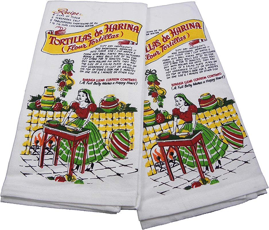 Mexican Tortilla Recipe Kitchen Towels By Red And White Kitchen Set Of 2