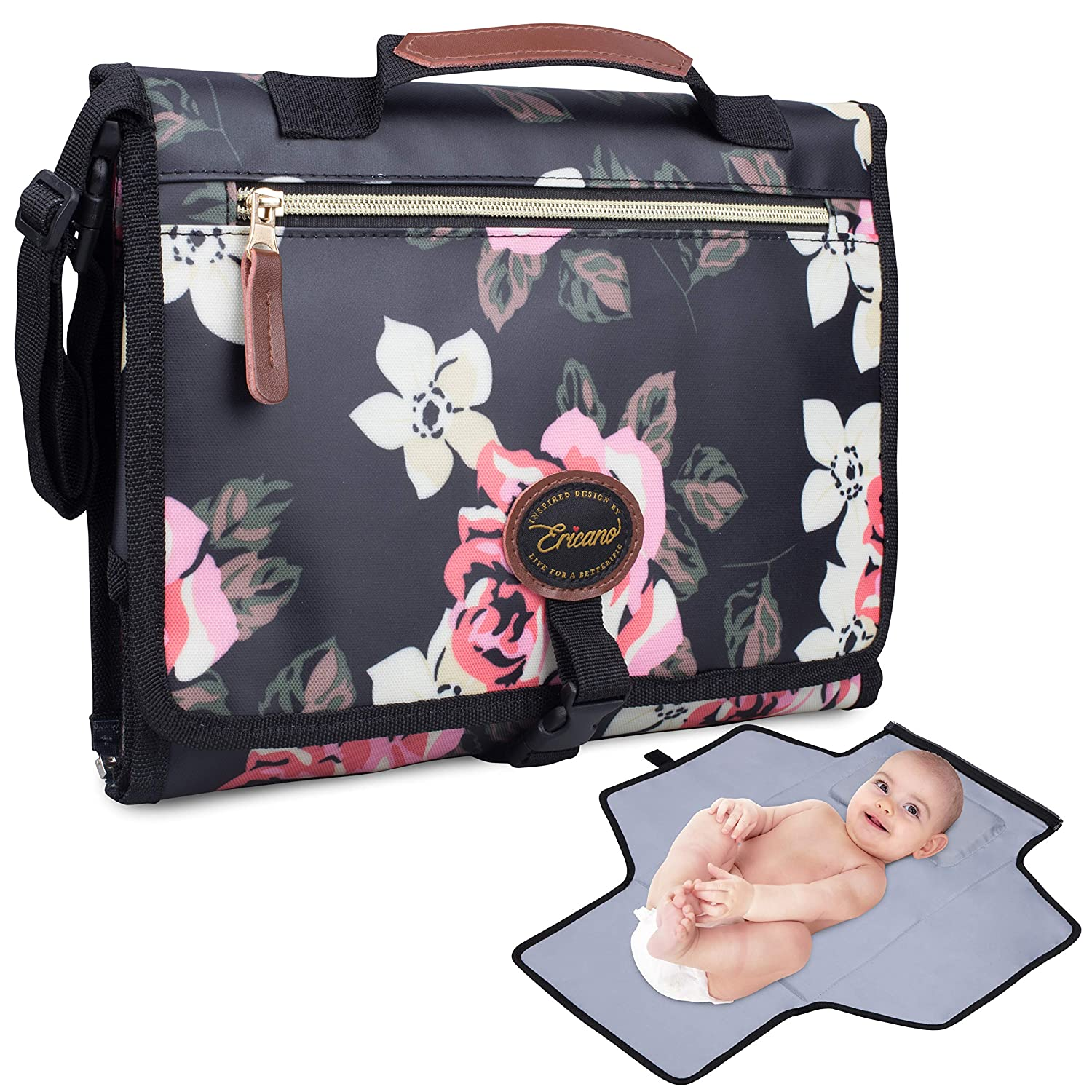 Portable Baby Diaper Changing Pad Built-In Thick Cushion Pillow - Foldable Clutch Bag Travel Changing Mat with Detachable Pockets - Black Pink Floral Rose